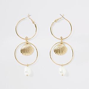 Pendants d'oreilles dorés à perles et maillons