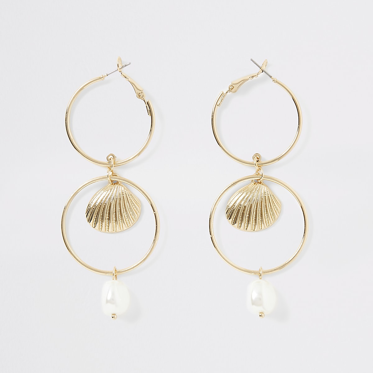 Gold colour pearl drop interlinked earrings