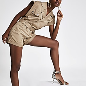 Utility-Playsuit in Beige