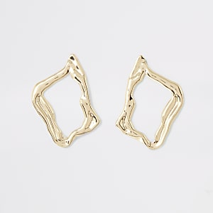 Gold colour wavy stud earrings