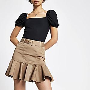 Mini-jupe beige à volants