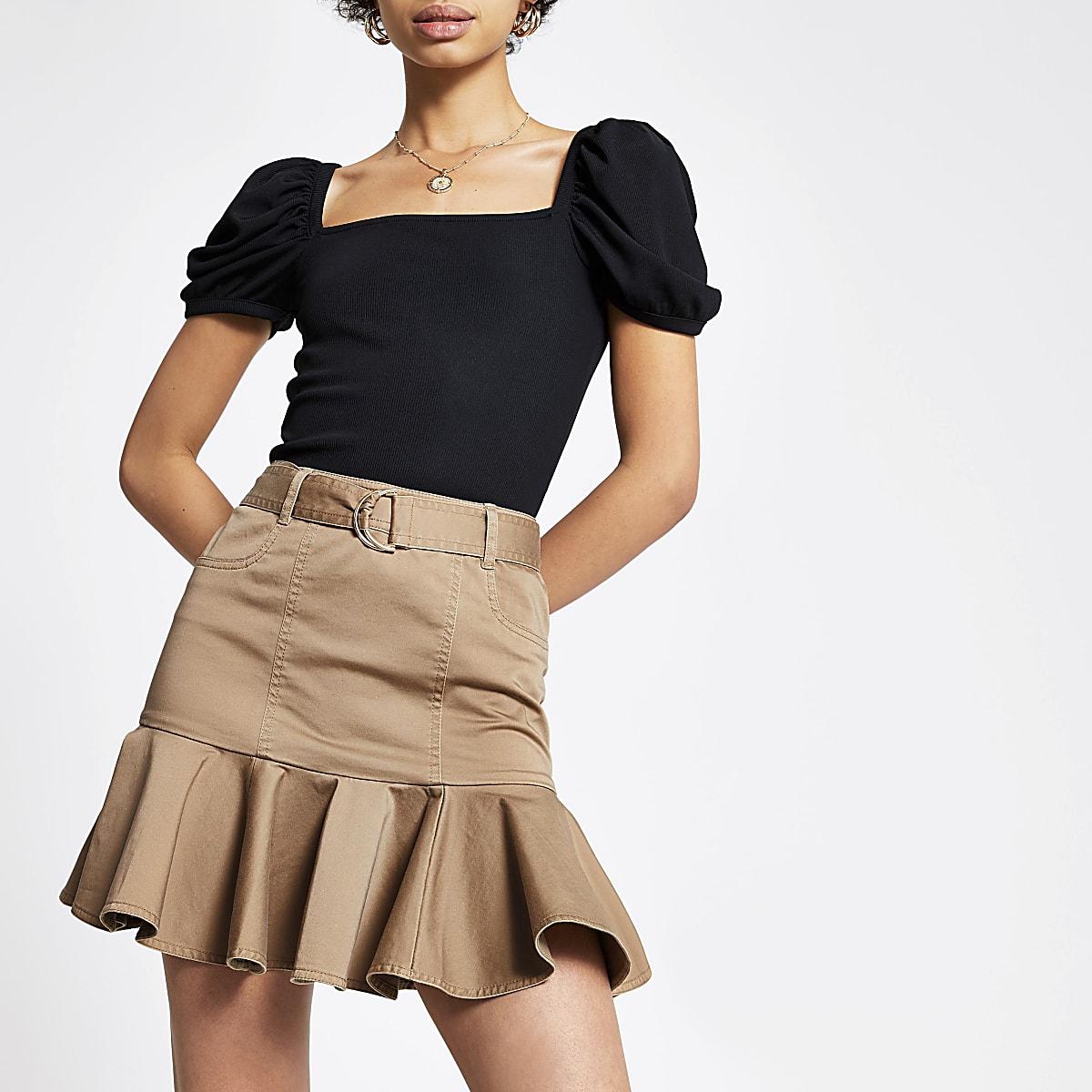 Beige frill mini skirt