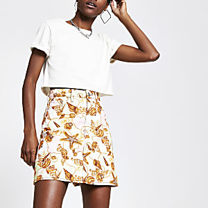 Pink shell print mini denim skirt