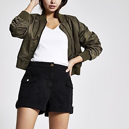 Black utility shorts