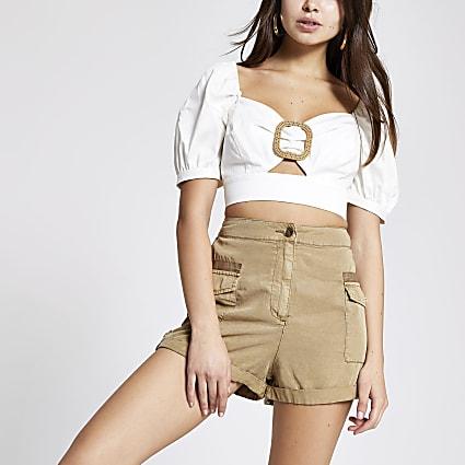 Beige utility shorts