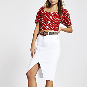 White denim pencil skirt