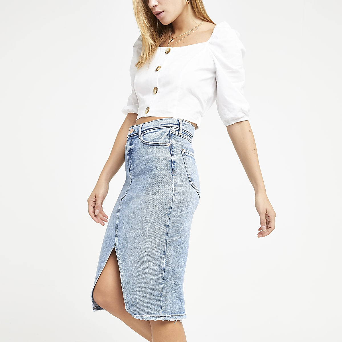 Light blue fray denim pencil skirt