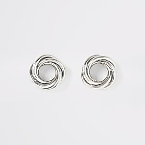 Silver colour twisted stud earrings