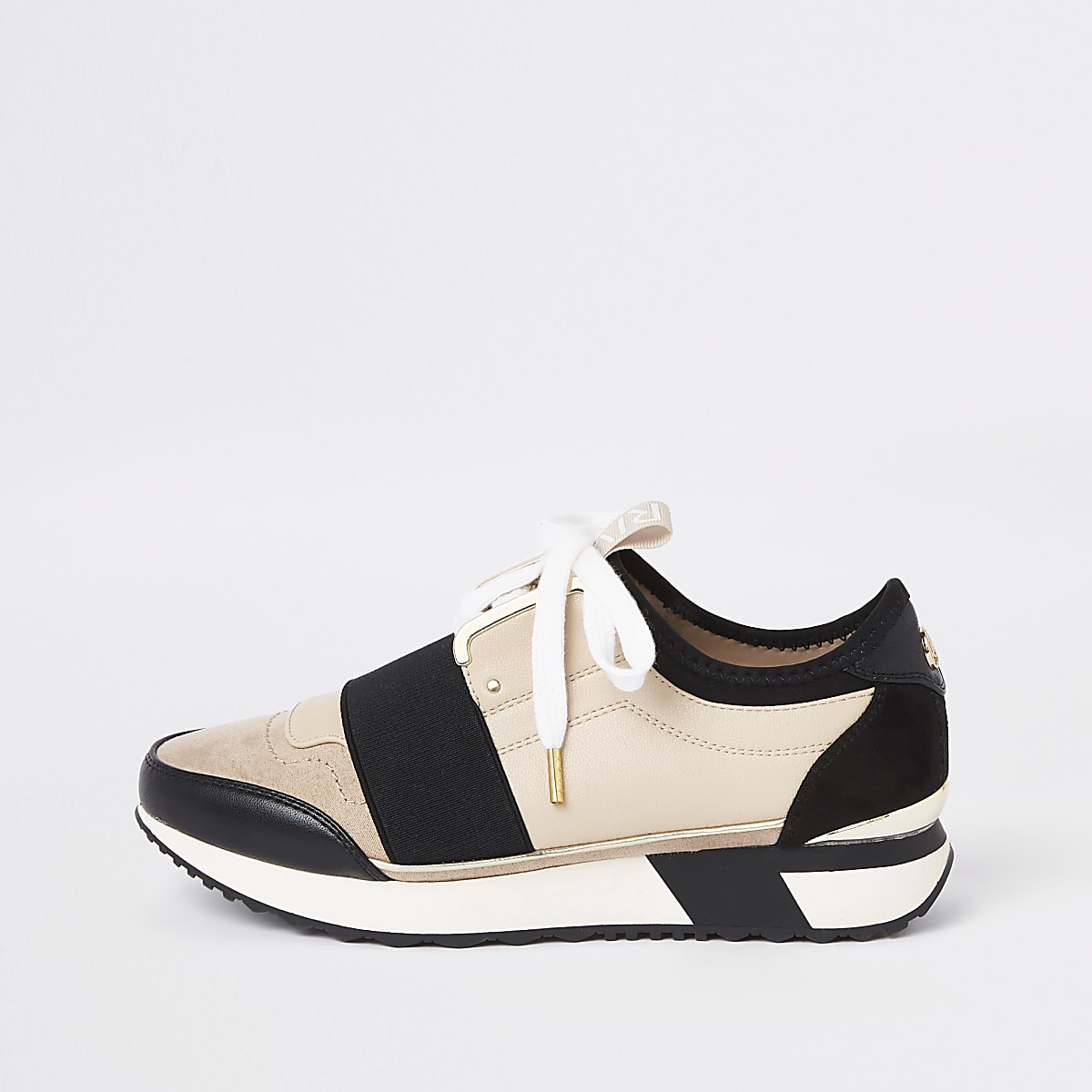 Cream elasticated lace-up runner sneakers