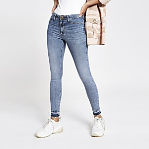 Mid blue Molly distressed jeggings