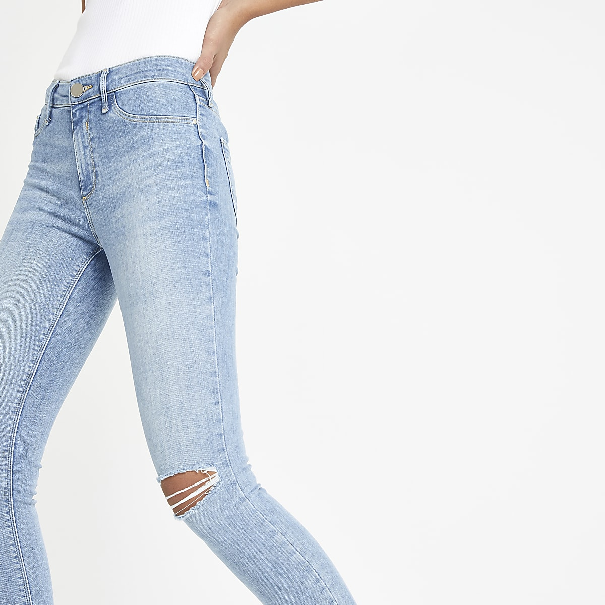 Light blue Molly ripped jeggings
