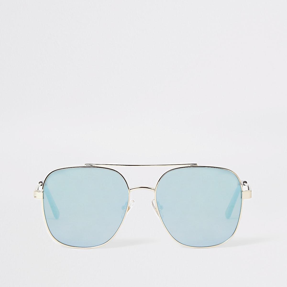 Gold color blue lens aviator sunglasses