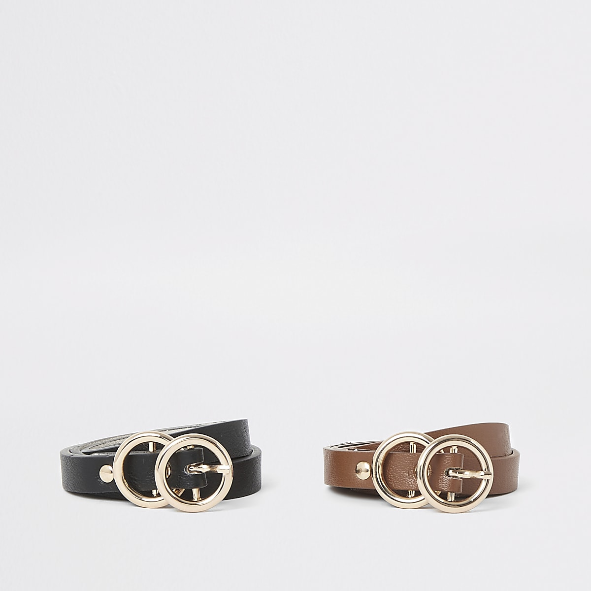 Multipack van zwarte en bruine leren riemen met dubbele ring