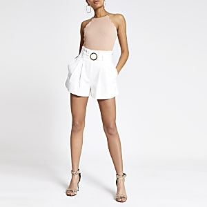 Pink scallop trim bodysuit