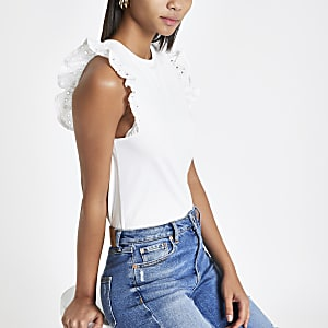 White broiderie frill T-shirt