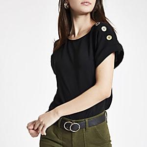 Zwart T-shirt met knoopdetail