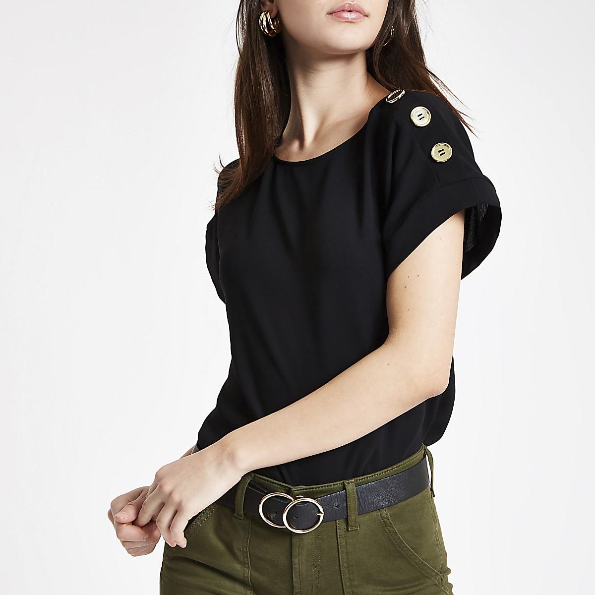 Black button detail T-shirt