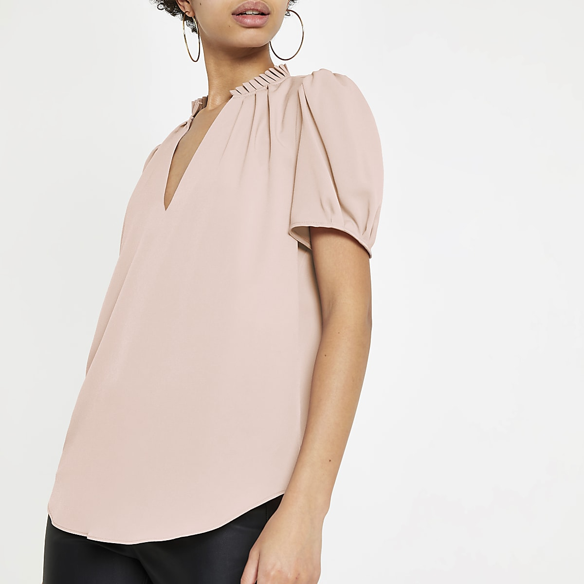 Pink V neck shell top