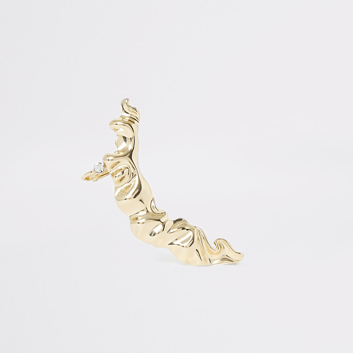 Gold color battered earring cuff