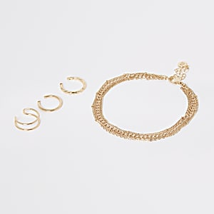 Gold colour anklet and toe ring set