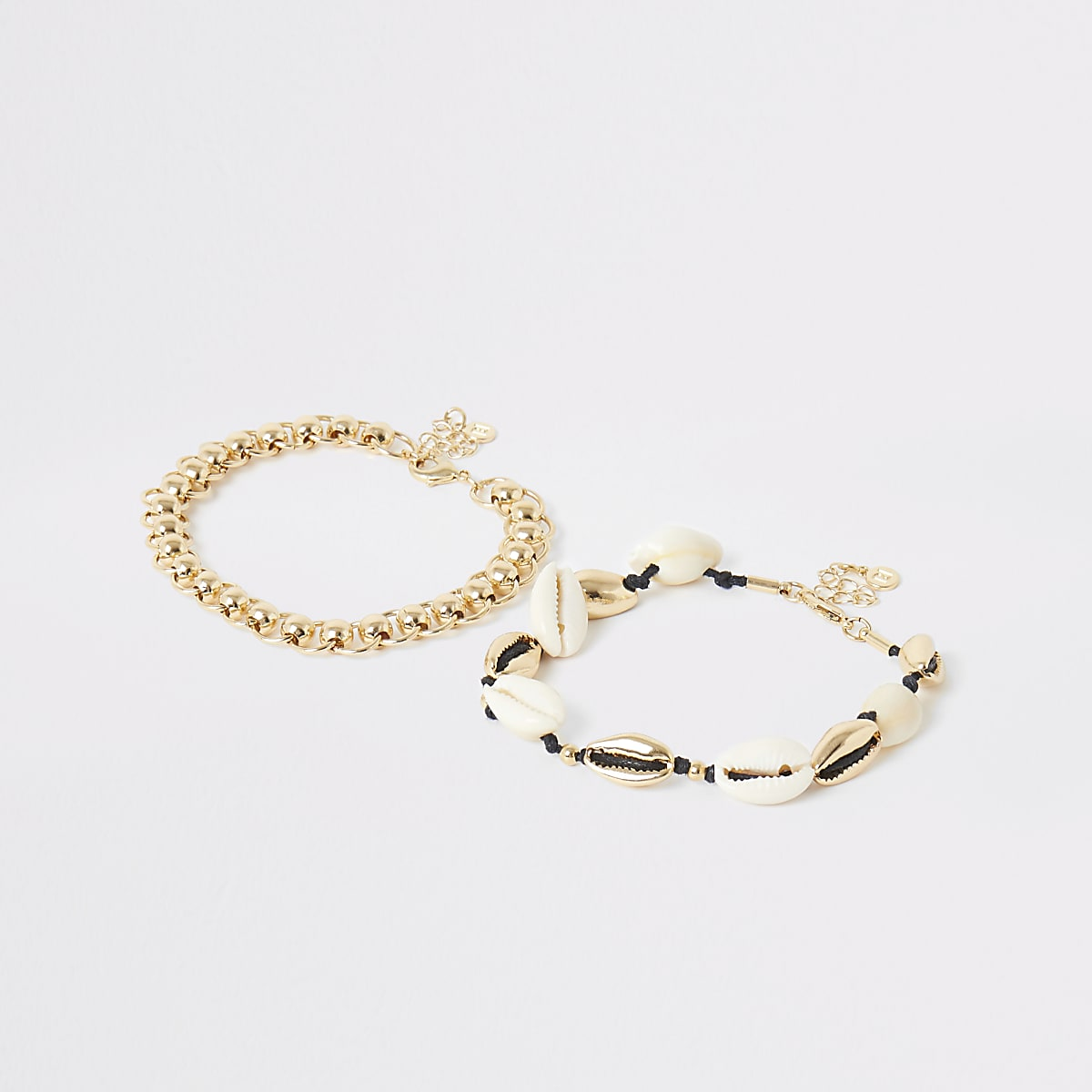 Gold colour shell anklet multipack