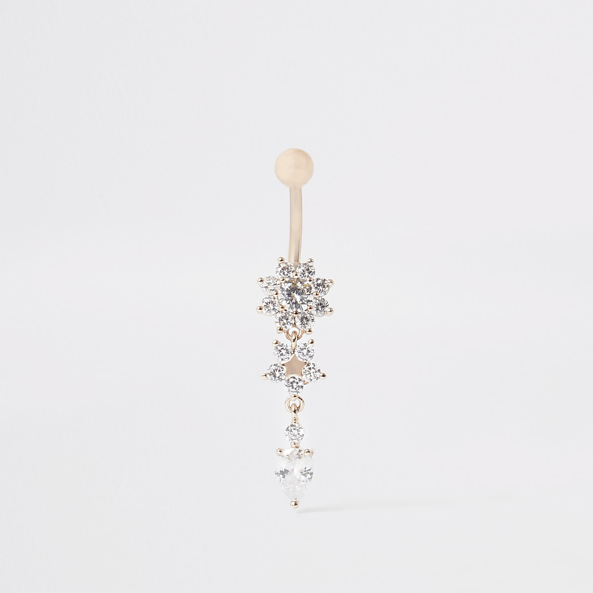 Rose gold colour floral dangle belly bar