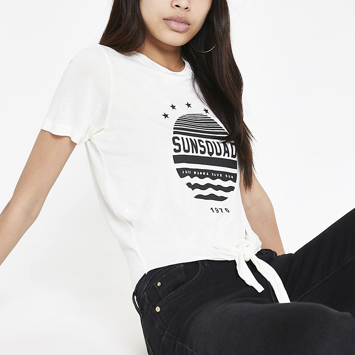 Cream printed knot front T-shirt