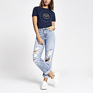T-shirt bleu marine à logo RI avec strass