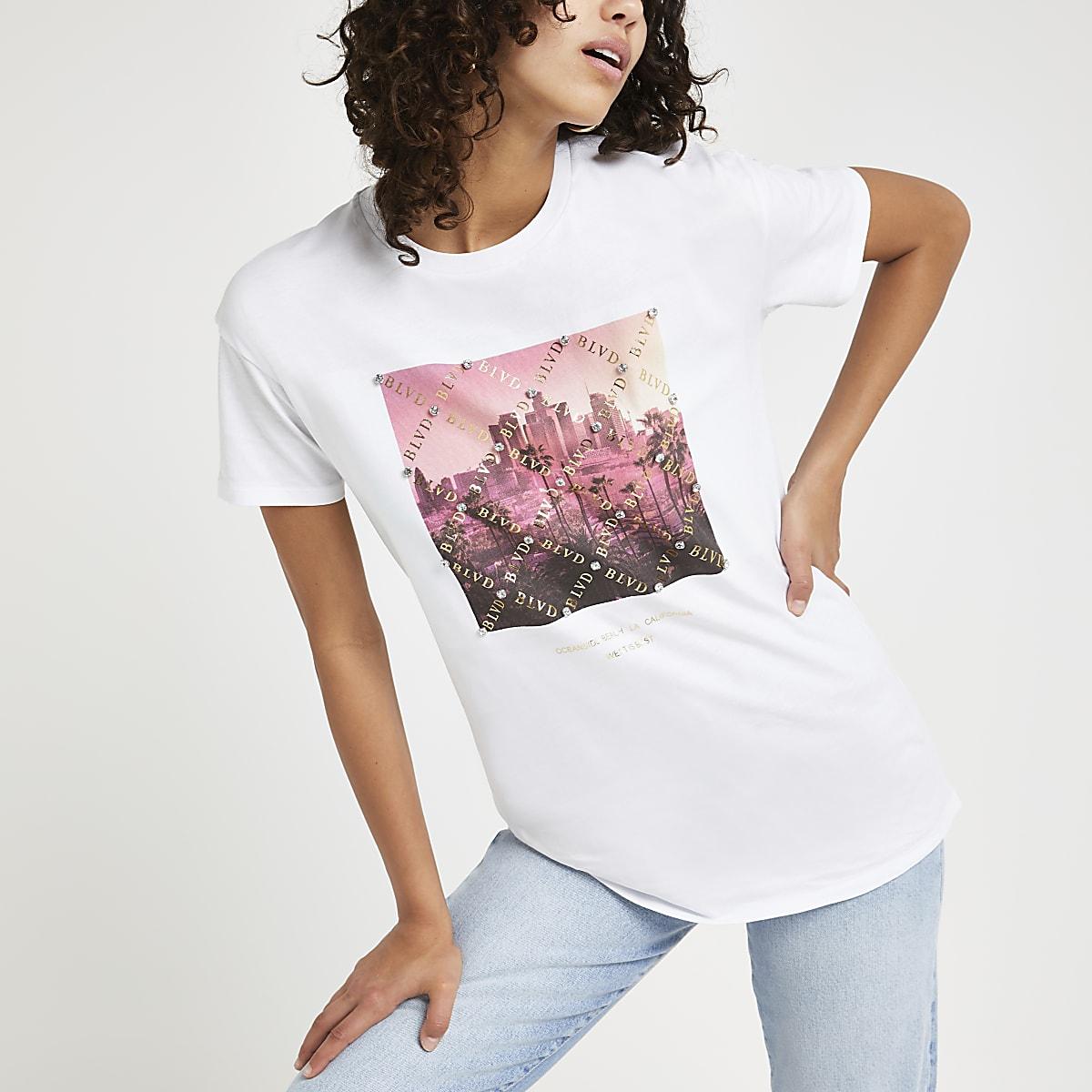 Wit verfraaid T-shirt met print