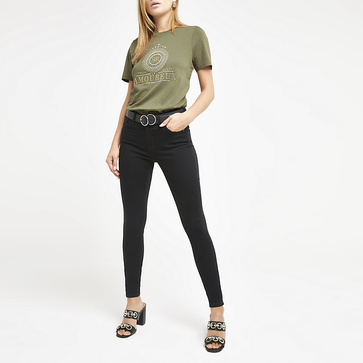 Khaki embroidered T-shirt