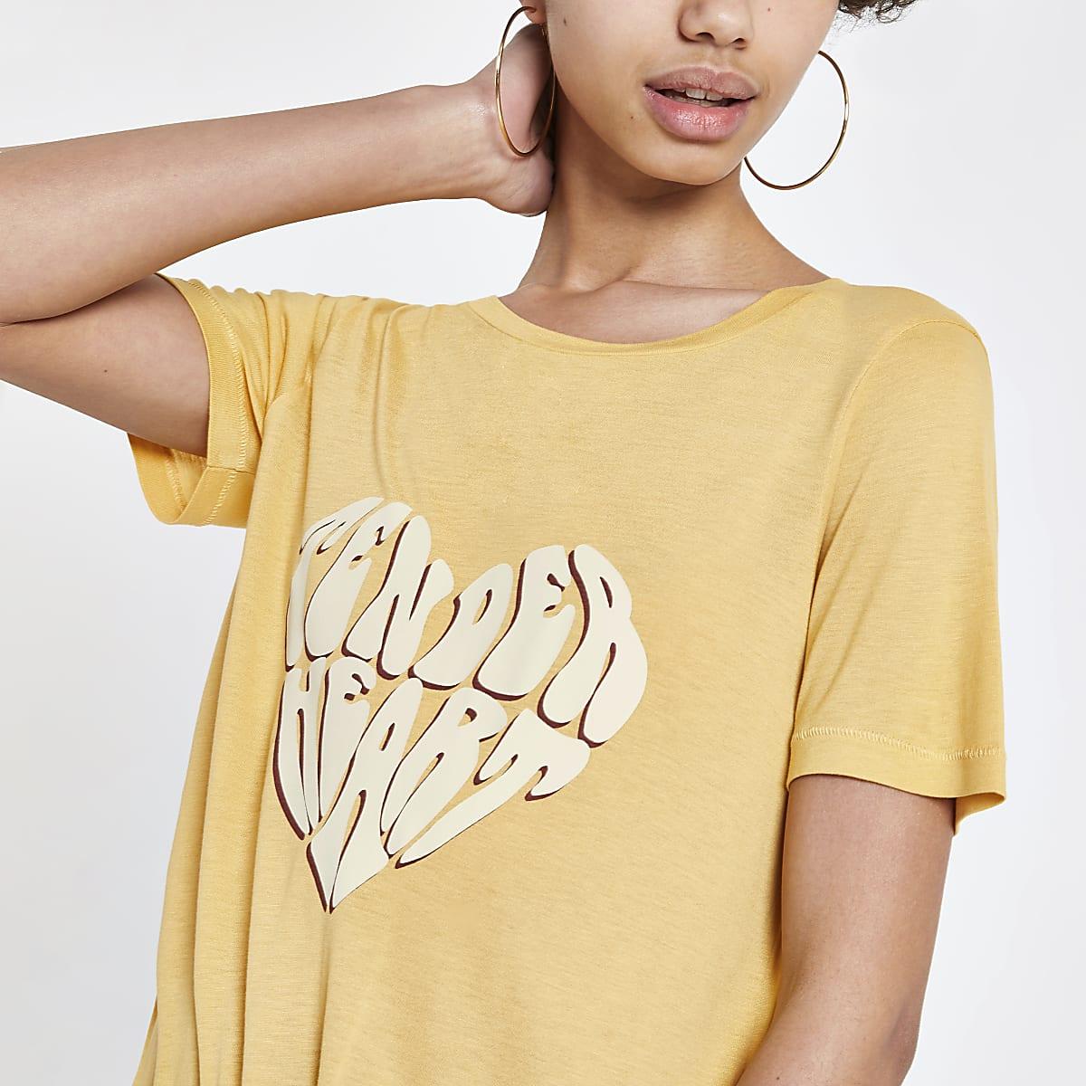Geel T-shirt met print en strik voor