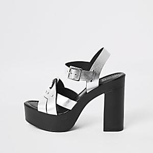 Silver leather platform heels
