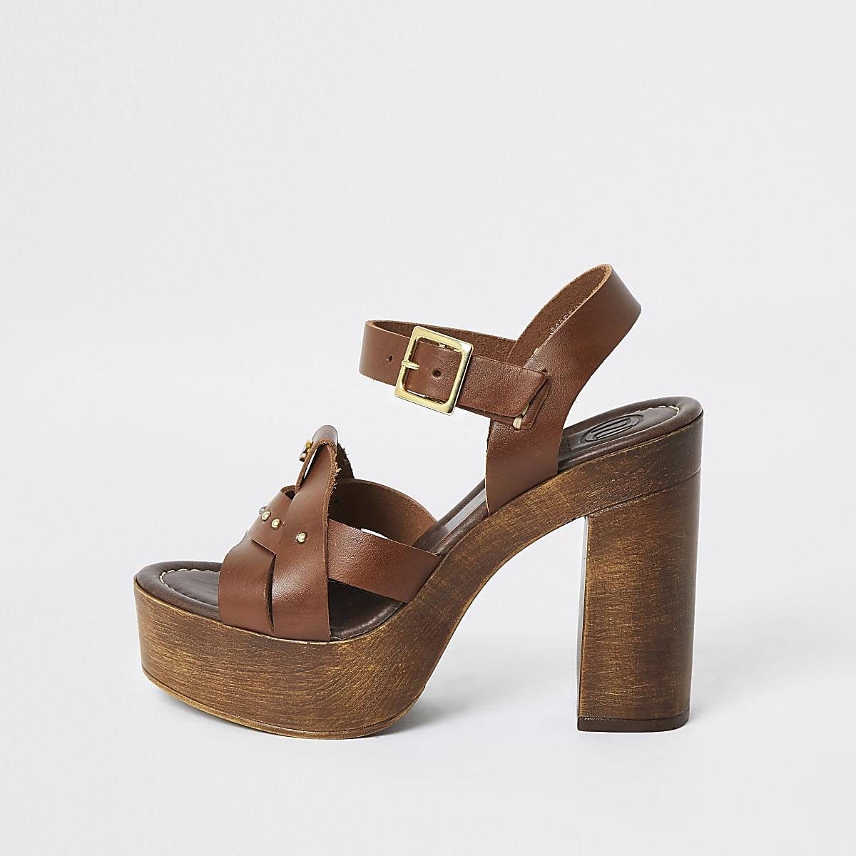 Brown leather platform heels