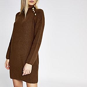 Donkerbruine gebreide trui-jurk