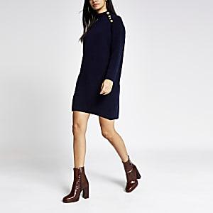 Marineblauwe gebreide trui-jurk met knopen op schouder