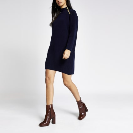 Navy button shoulder knitted jumper dress