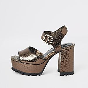 Bronskleurige sandalen plateauzool met profiel