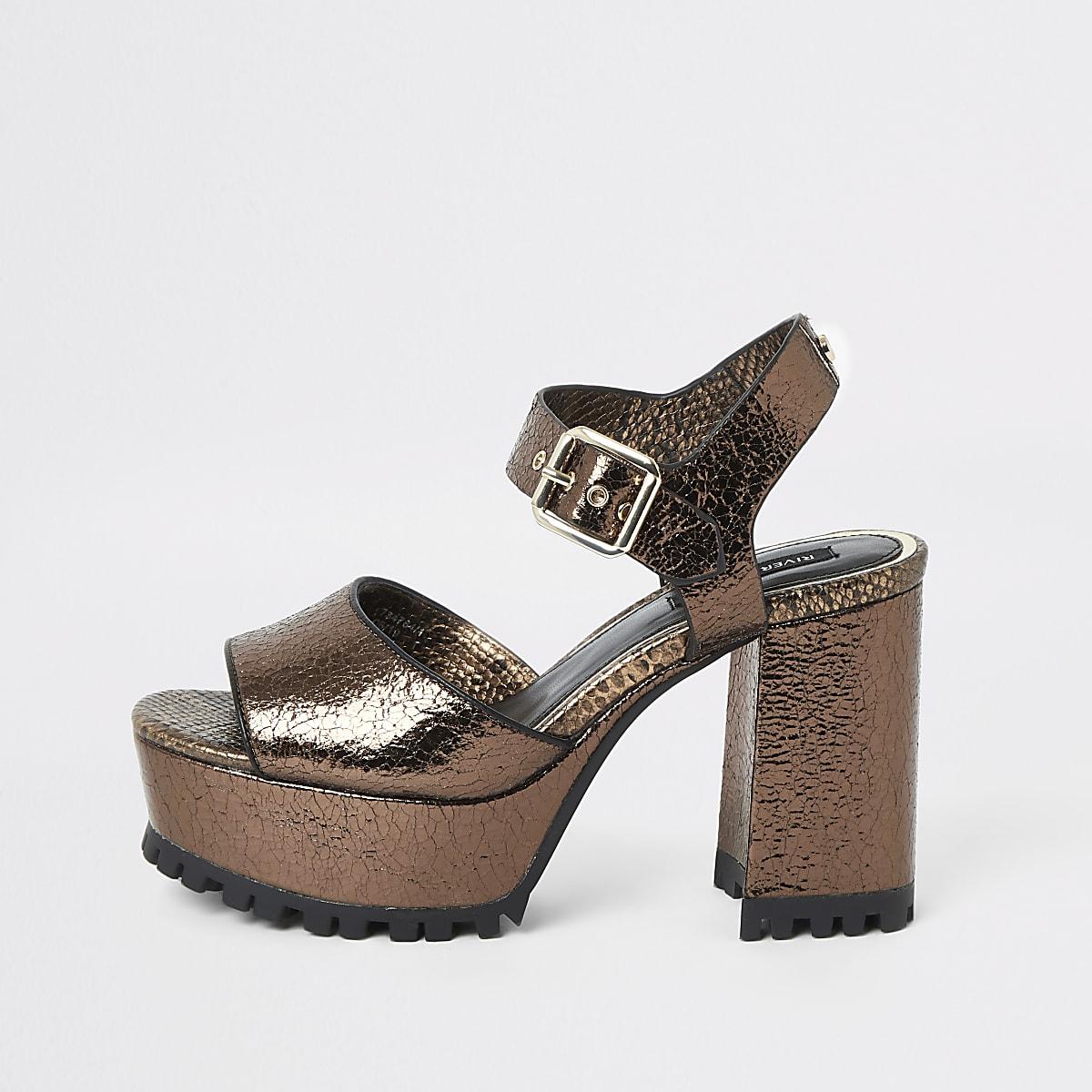 Bronze textured cleated platform sandals