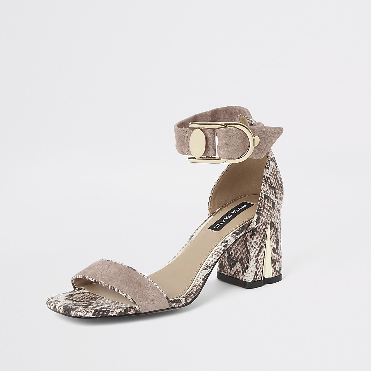 Block Sandals Heel Pink Snake Print PnO0w8kX