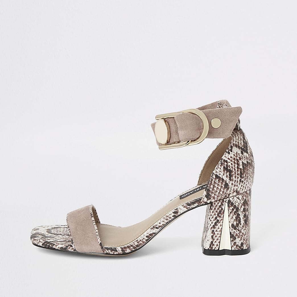 Pink snake print block heel sandals