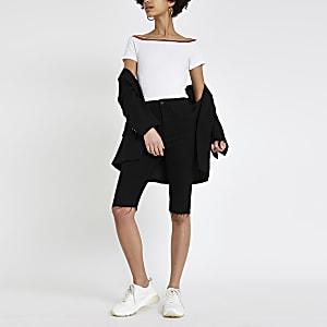 Witte geribbelde aansluitende jersey body