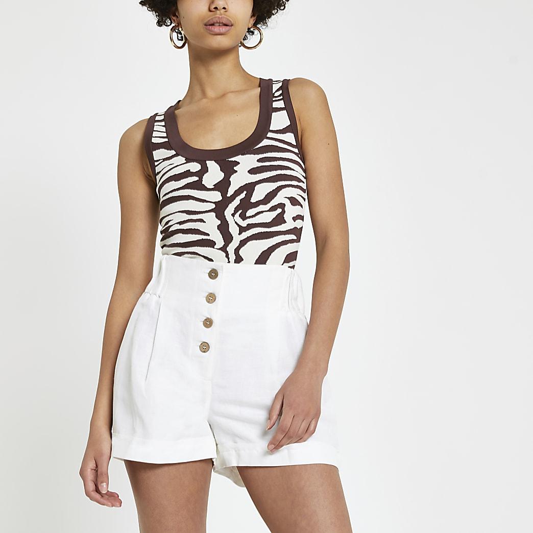 Brown animal print vest top