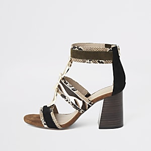Brown snake print block heel sandals