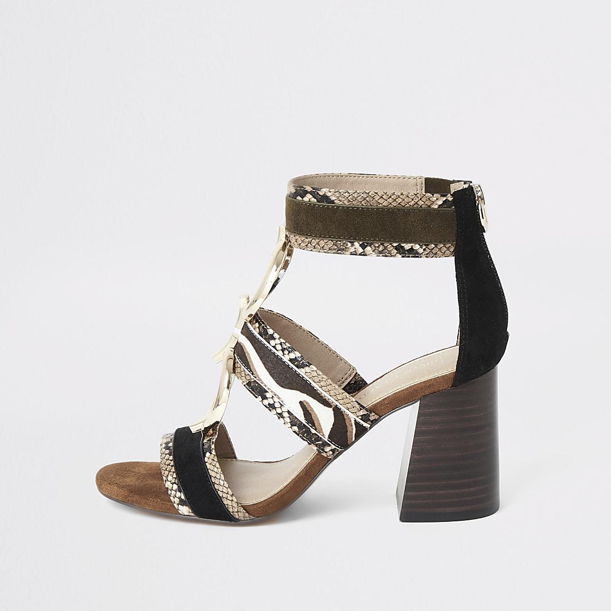 Bruine sandalen met blokhak en slangenprint