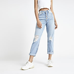 Hellblaue Mom-Jeans im Used-Look