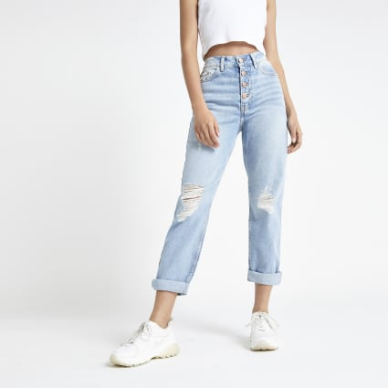 Light blue Mom rip jeans