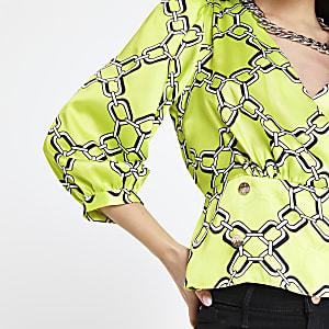 Petite lime chain print blouse