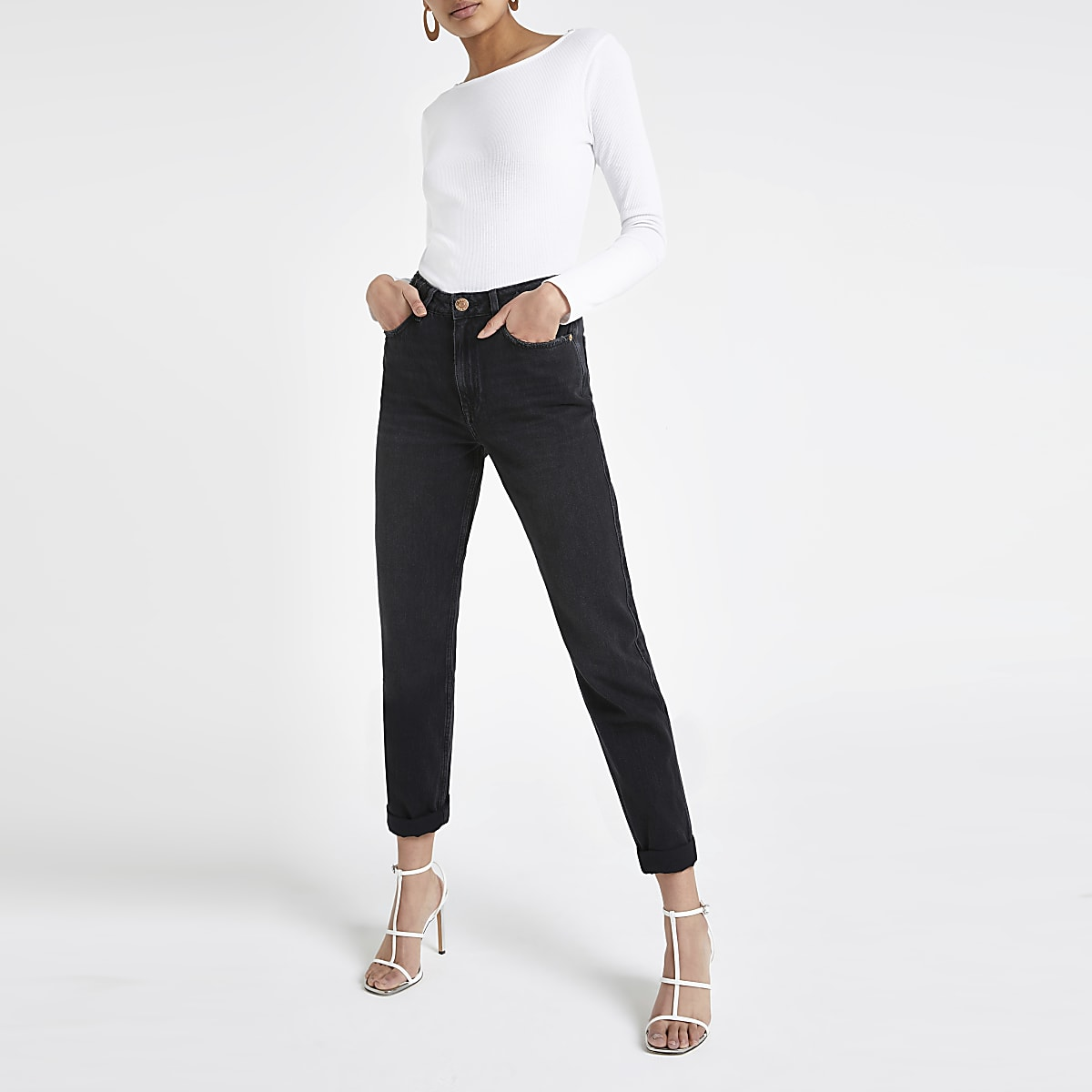 Zwarte mom jeans met hoge taille