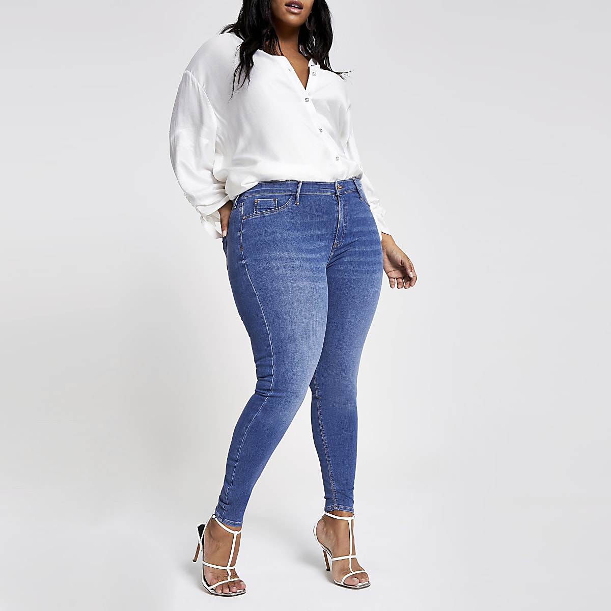 Plus mid blue Molly mid rise jeggings