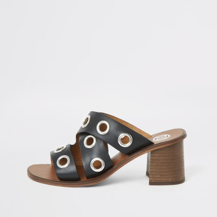 Black leather eyelet block heel mules
